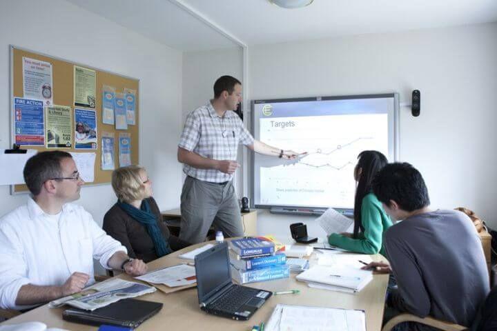 Aulas bien equipadas  - Pizarras interactivas, material audiovisual y método actualizado